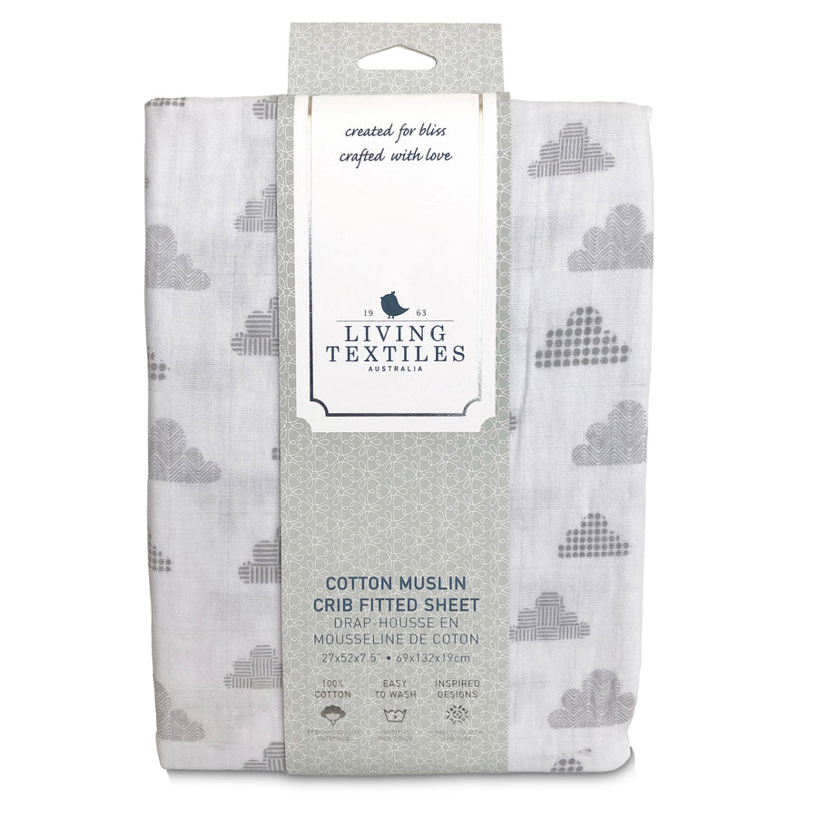 Muslin Crib Fitted Sheet - Grey Clouds