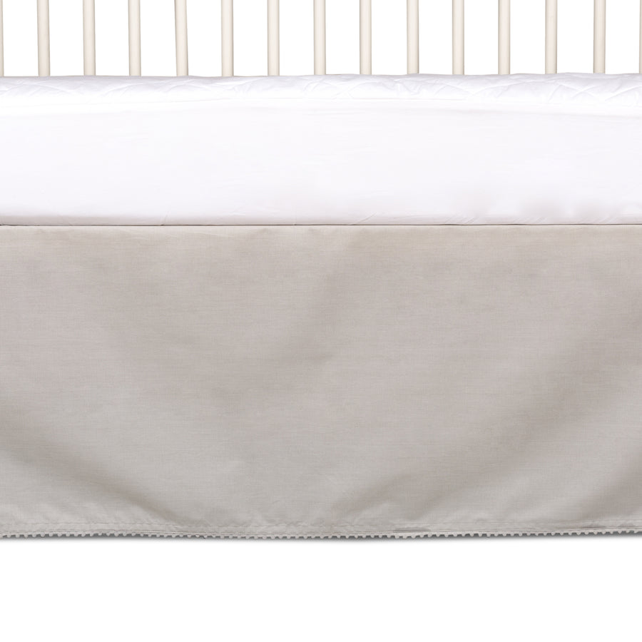 Crib Bed Skirt - Grey w/ Pom Pom Trim