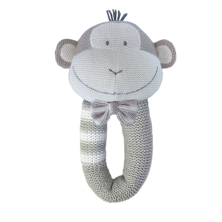 Cotton Knitted Rattle - Joe Monkey