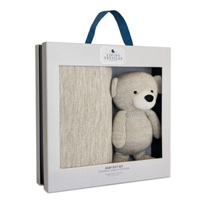 Baby Bento Gift Set- Knitted Blanket + Grey Bear Knitted Toy | Living Textiles Co.