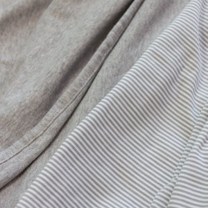2pk Cotton Jersey Swaddle - Grey Marl + Grey Heathered Stripes