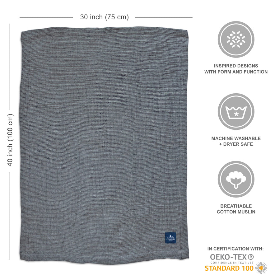 Muslin Textured Blanket - Grey