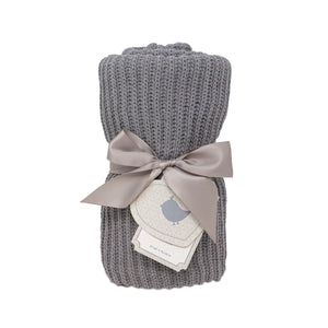 Rib Knitted Baby Blanket - Grey
