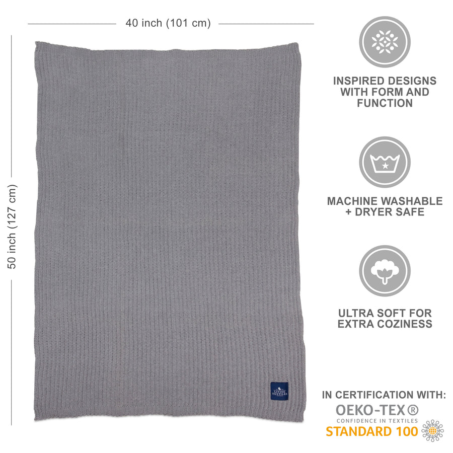 Rib Knitted Big Kid Blanket - Grey