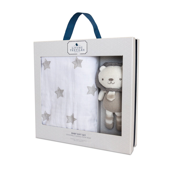 Baby Bento Gift Set- 3 Ply Muslin Blankets + Mini Austin Lion | Living Textiles Co.
