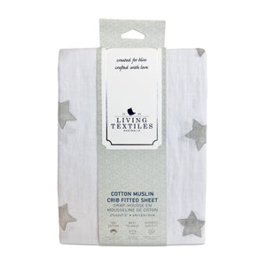 Muslin Crib Fitted Sheet - Grey Stars