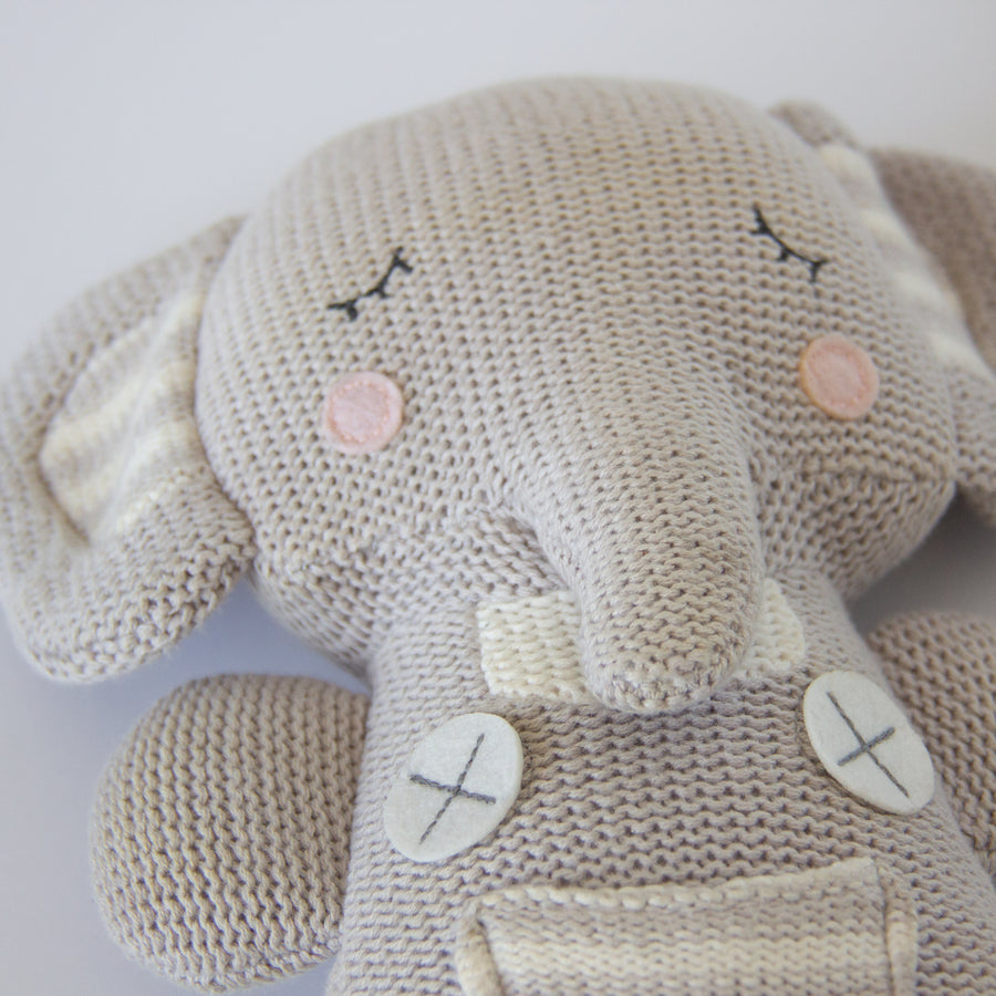 2pc Baby Set - Theodore Elephant Knitted Toy + Theodore Elephant Rattle