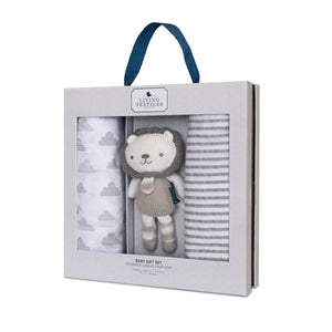 Baby Bento Gift Set - Muslin Swaddle Blanket + Mini Austin Lion