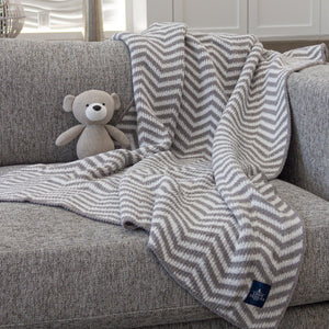 Chenille Big Kid Blanket - Grey Chevron