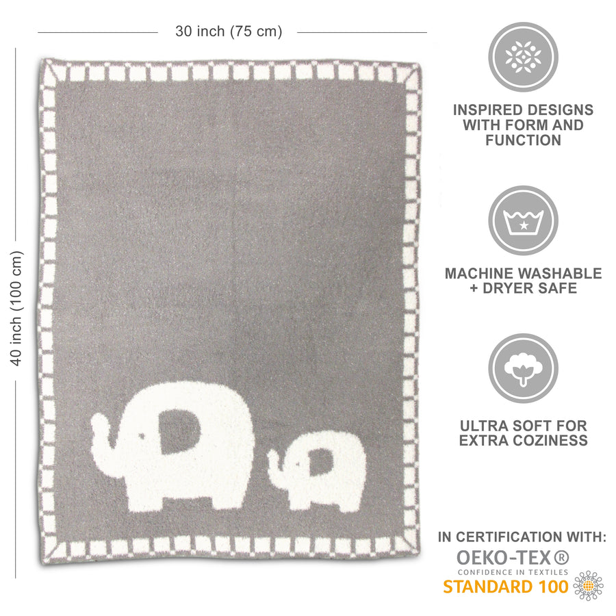 Cozy Chenille Baby Blanket - Elephants