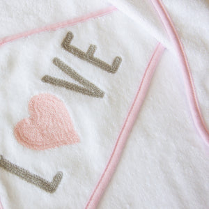 Hooded Towel - Embroidered Pink Love