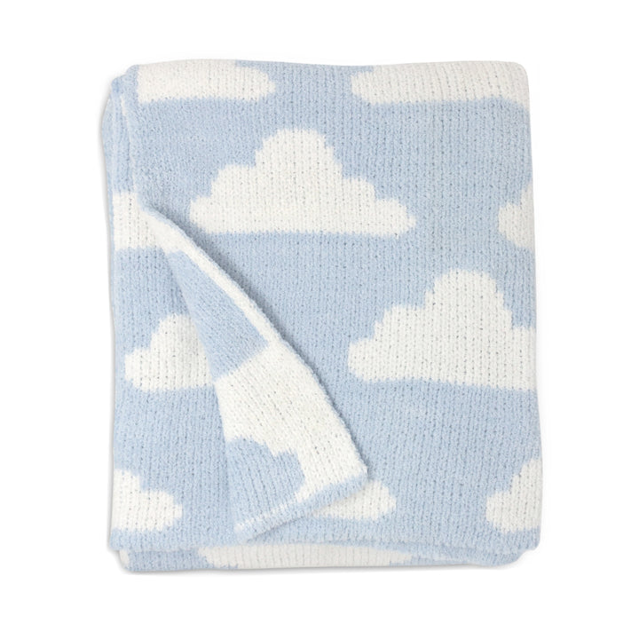 Chenille Baby Blanket - Blue Clouds