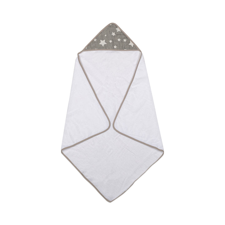 Hooded Towel - Grey Stars