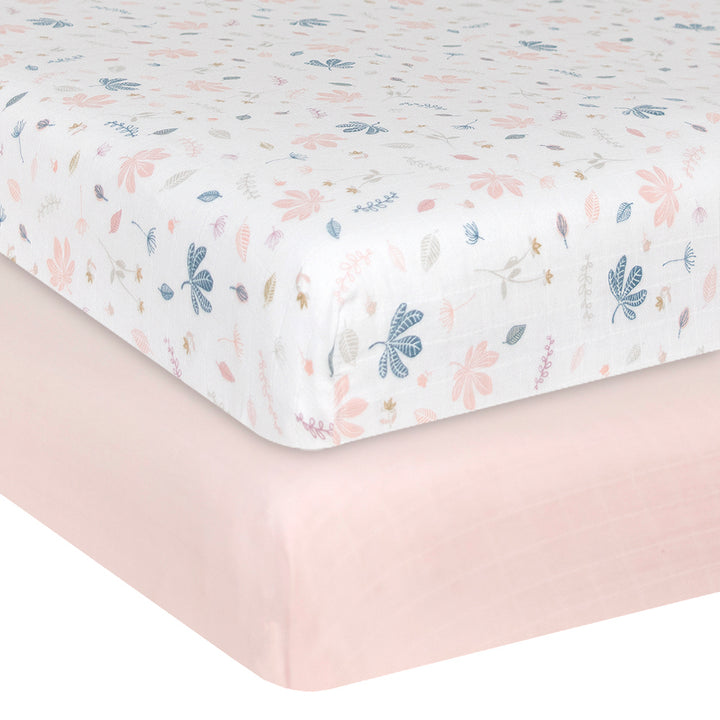 Organic Muslin 2pk Crib Fitted Sheet - Botanical