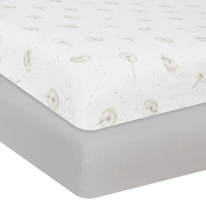 Organic Muslin 2pk Crib Fitted Sheet - Dandelion