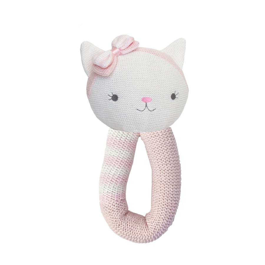 Cotton Knitted Rattle - Ava Cat