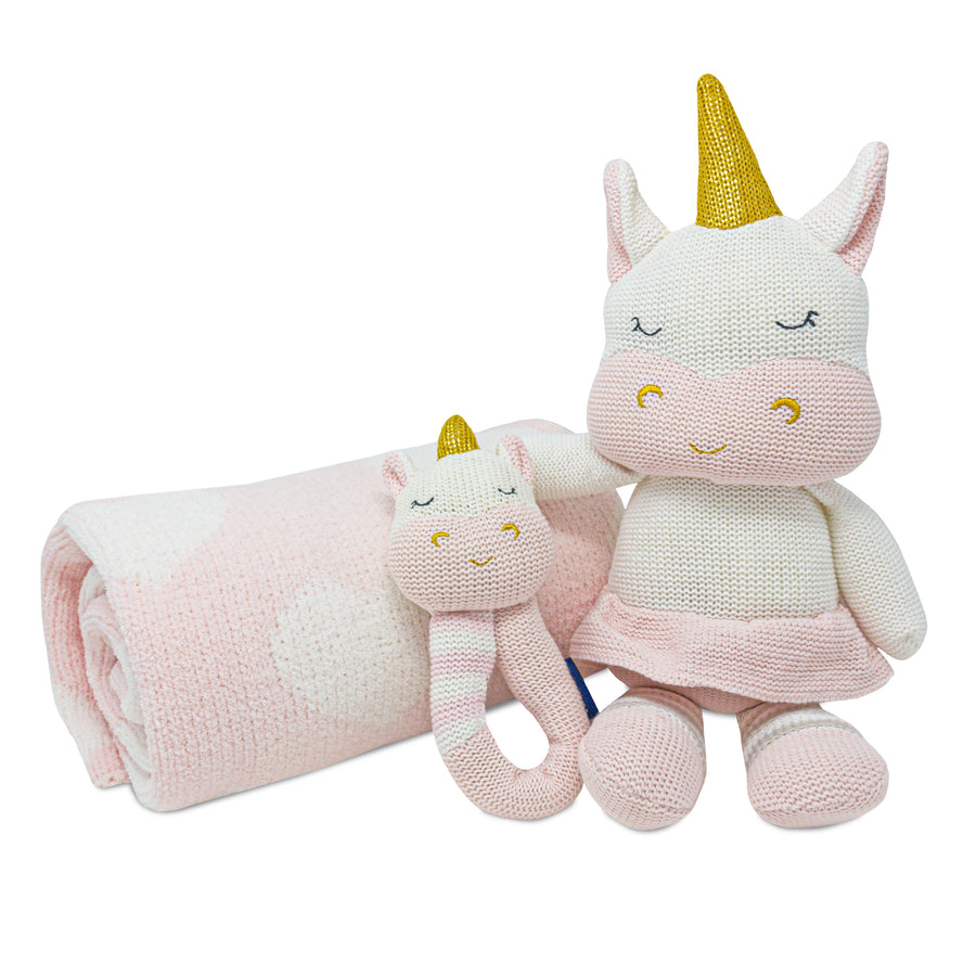 3pc Baby Set - Pink Hearts Chenille Baby Blanket + Kenzie Unicorn Knitted Toy + Kenzie Unicorn Rattle