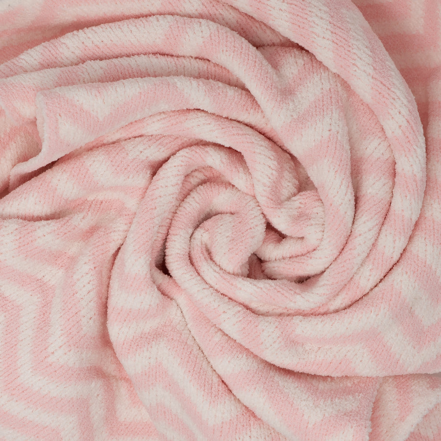 Baby Girl Blankets | Chenille Baby Blanket - Pink Chevron | Living Textiles Co.