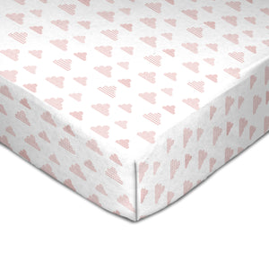 Muslin Crib Fitted Sheet - Pink Clouds