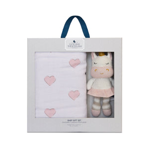 Baby Bento Gift Set - 3 Ply Muslin Blanket + Mini Kenzie Unicorn