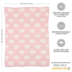 Chenille Baby Blanket - Pink Hearts