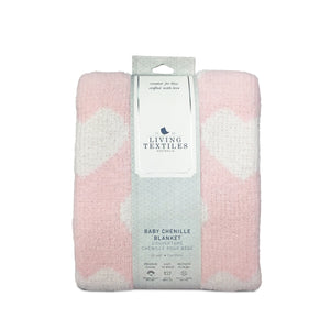 Pink Baby Blanket | Chenille Baby Blanket - Pink Hearts | Living Textiles Co.