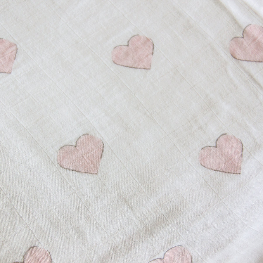 Muslin Crib Fitted Sheet - Pink Hearts