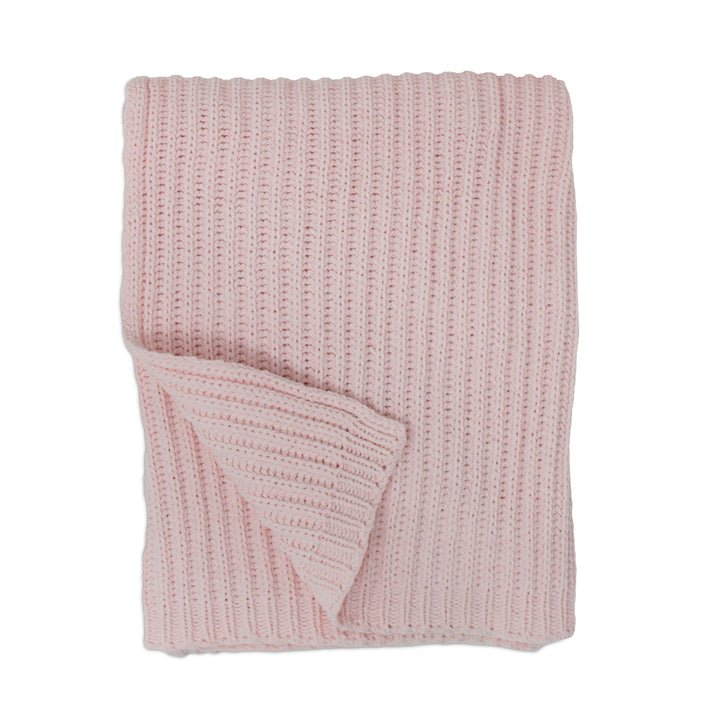 Rib Knitted Baby Blanket - Pink