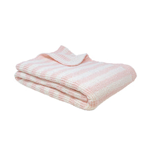 Chenille Baby Blanket - Pink Stripes
