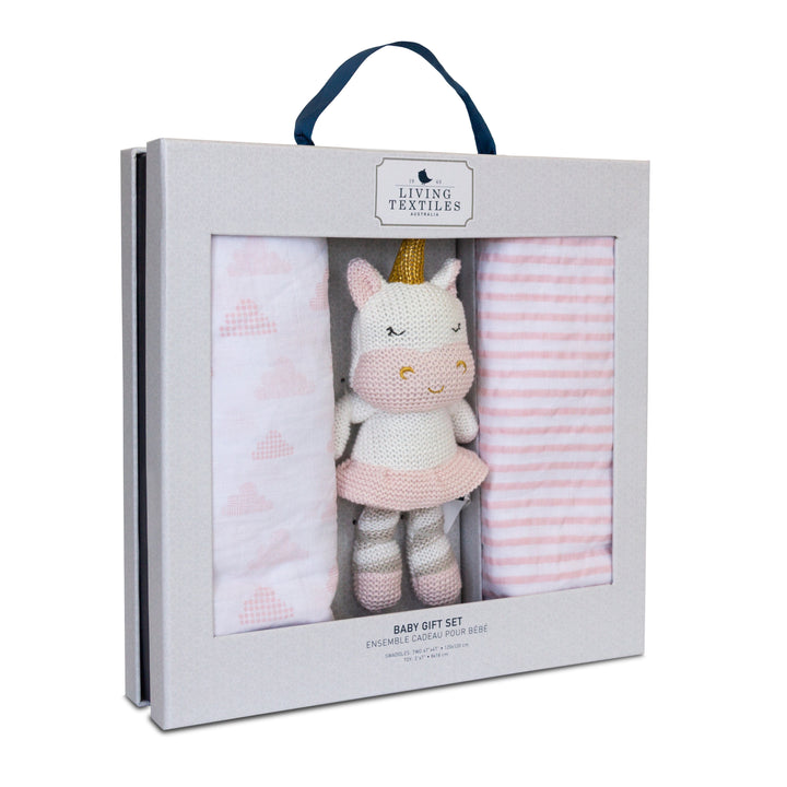 Baby Shower Gift Set - Muslin Swaddle Blanket + Mini Kenzie Unicorn