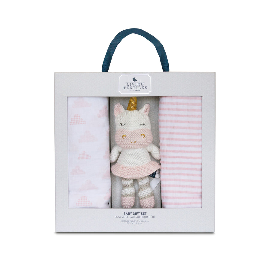 Baby Bento Gift Set - Muslin Swaddle Blanket + Mini Kenzie Unicorn
