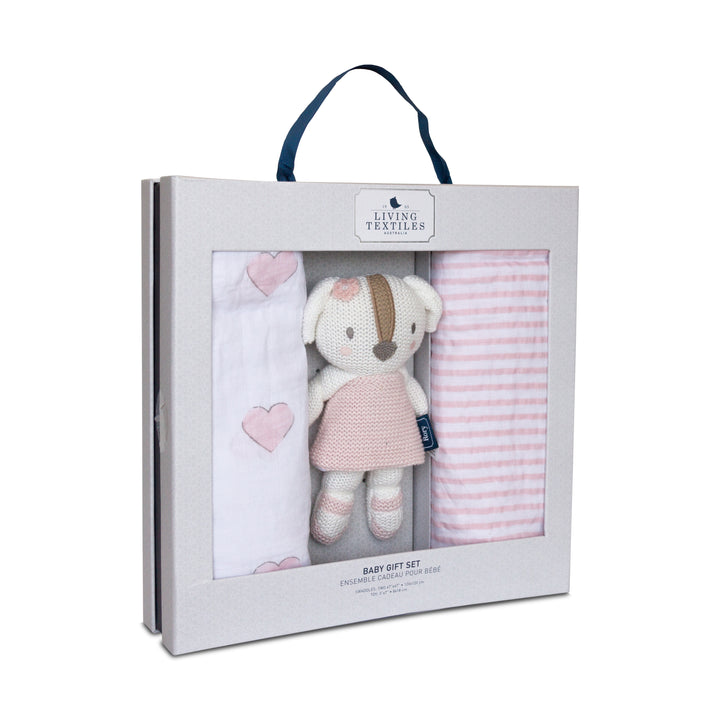 Best Baby Gift Set - Muslin Baby Blankets + Mini Ms.Rory Puppy