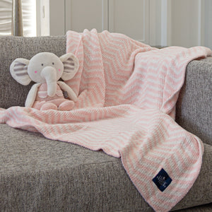 Chenille Big Kid Blanket - Pink Chevron