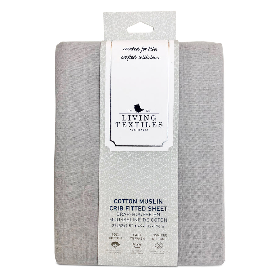 Muslin Crib Fitted Sheet - Grey