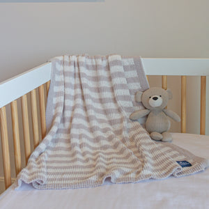 Chenille Baby Blanket - Grey Stripes