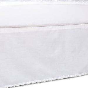 Crib Bed Skirt - White w/ Pom Pom Trim