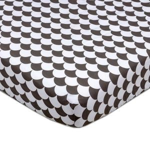 Crib Fitted Sheet - Kayden Black Scallops