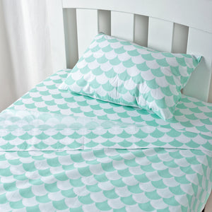 Toddler Sheet Set - Kayden Sea Glass Green Scallops