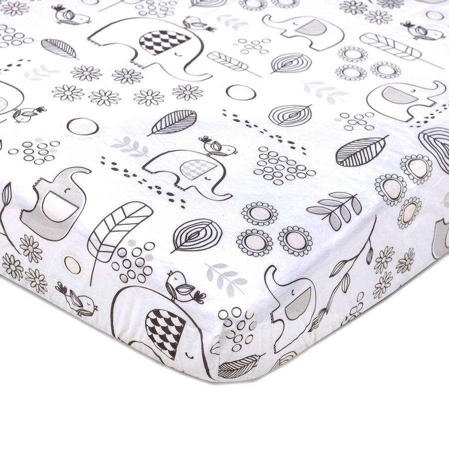 Crib Fitted Sheet - Kayden Elle Elephant