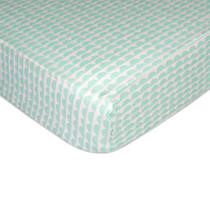 Crib Fitted Sheet - Mini Mint Scallop