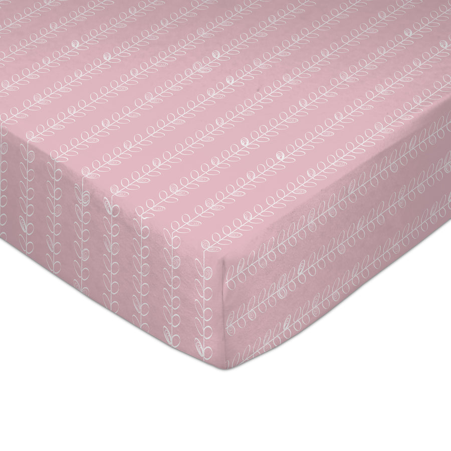 Crib Fitted Sheet - Pink Vines