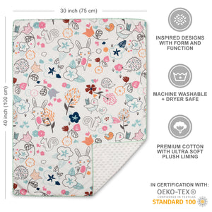 2pc Baby Set - Stella Sherpa Baby Blanket + Little Birds Fitted Crib Sheet