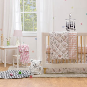 Crib Bed Skirt - Kayden Pink Scallops
