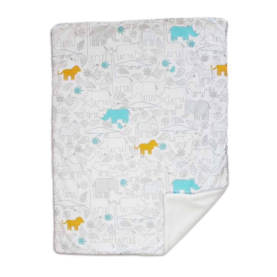 Baby Shower Gift Ideas | Baby Blanket w/ Sherpa - Safari