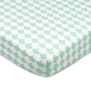 Crib Fitted Sheet - Kayden Sea Glass Green Scallops