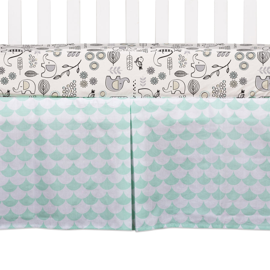 Crib Bed Skirt - Kayden Sea Glass Green Scallops