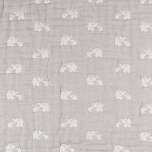 Cotton Muslin Jacquard Wearable Baby Blanket - Elephant Parade - Living Textiles Co.