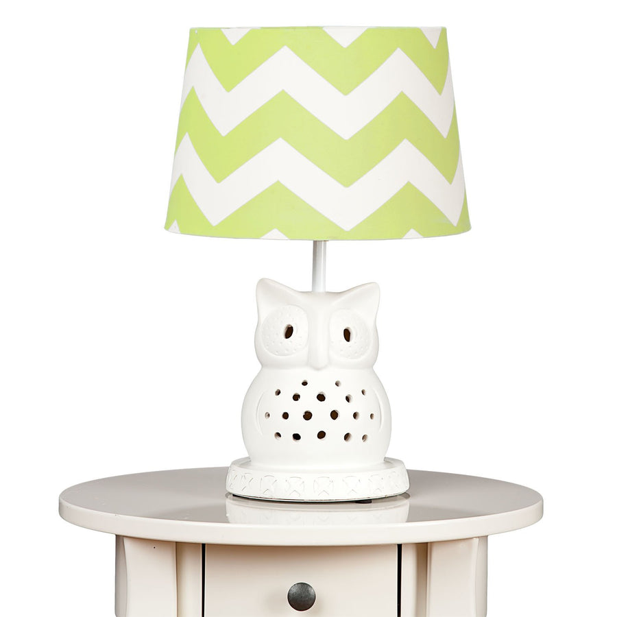Lamp Base & Shade - Owl & Green Zig Zag - Living Textiles Co.