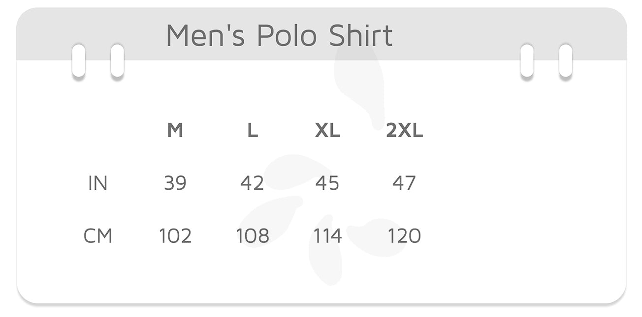 Sizes — Men's Polo Shirt