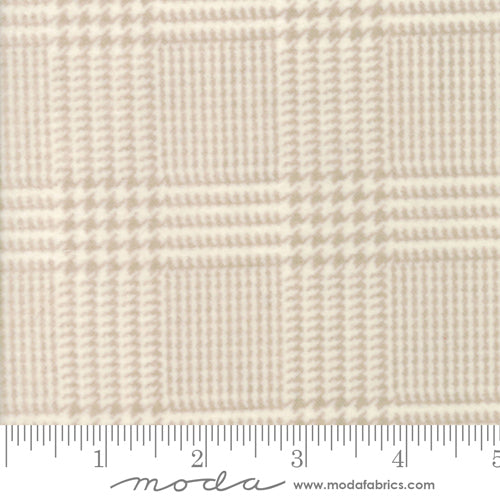 Wool Needle Herringbone Plaid Cream Flannel 1253-11